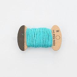 Corde de chanvre, chaîne de chanvre, ficelle de chanvre, 3 plis, pour la fabrication de bijoux, turquoise, 2mm; 10m / board(OCOR-WH0016-06H)