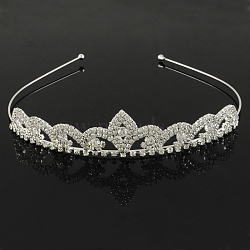 модные свадебные короны, свадебные диадемы, с основанием из железа и латуни, кристалл, 120 mm(OHAR-R271-08)