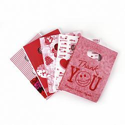 Sacs en plastique imprimés, rectangle, rouge, 60x50 cm(PE-T003-50x60cm-06)