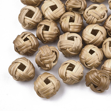 13mm BurlyWood Rondelle Rattan Beads