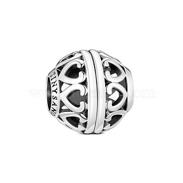 TINYSAND Rondelle 925 Sterling Silver Open Your Heart European Hollow Beads, Large Hole Beads, Platinum, 11.41x10.91x11.48mm, Hole: 4.46mm(TS-C-036)