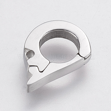 304 Stainless Steel Clasps, Smooth, Stainless Steel Color, 11x7.5x2mm, Hole: 0.5mm(STAS-P180-05P)