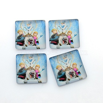Cartoon Girl Photo Glass Square Cabochons, Sky Blue, 15x15x5mm(GGLA-N001-15mm-E37)