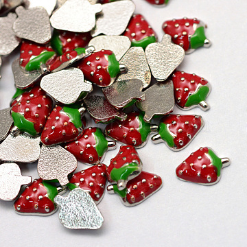 Enamel Style Alloy Cabochons, Floating Charms, DIY for Floating Lockets Glass Living Memory Lockets, Strawberry, Platinum, Red, 8.5x6x2mm(X-ENAM-S086-83P)