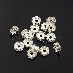 латунные горный хрусталь Spacer бисер, класс, волнистым краем, серебристый цвет, Rondelle, кристалл, 6x3 mm, отверстия: 1 mm(X-RB-A014-L6mm-01S)