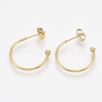 304 Stainless Steel Stud Earrings, Half Hoop Earrings, with Immovable Round Beads, Ear Nuts, Golden, 20.5x21x3mm, Pin: 0.8mm(X-STAS-T047-22)