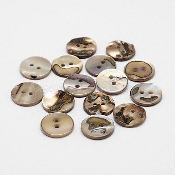 2-Hole Flat Round Natural Black Shell Buttons, Black, 13x2mm, Hole: 1mm; about 720pcs/bag(SHEL-P012-20)