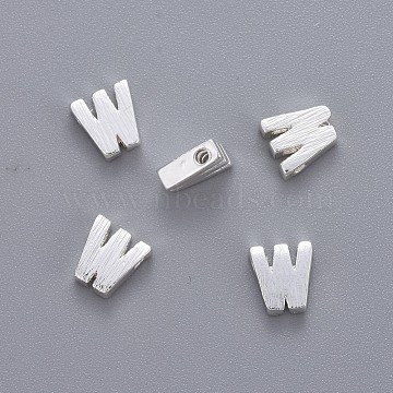 Brass Charms, Letter, Letter.W, 6x5x2mm, Hole: 1mm(KK-P081-W-S)