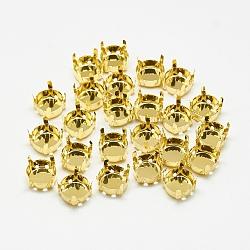 Supports de griffes en strass en 201 acier inoxydable, plat rond, or, plateau: 7 mm; 7.5x6 mm, Trou: 1mm(STAS-T032-01G-8mm)