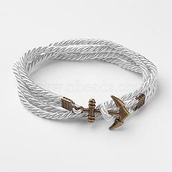Bracelets enveloppés de deux boucles en cordon de polyester, avec les accessoires en alliage de ton de bronze antique d'ancrage, gainsboro, 415x3mm(BJEW-M193-15)
