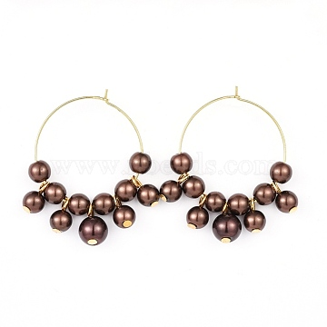Wine Glass Charms, with Glass Pearl Beads and Brass Hoop Earrings, Golden, Saddle Brown, 42.5~43x36~37.5x8mm, Pin: 0.6mm(EJEW-JE03184-05)
