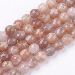 Natural Sunstone Beads Strands, Faceted, Round, 6mm, Hole: 1mm; about 65pcs/strand, 15.7inches