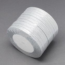 """Ruban métallique pailleté, Ruban scintillant, matériel de bricolage pour organza arc, Double Sided, couleur argentée, Taille: environ 1/4"""" (6mm) de large, 25yards / roll (22.86m / roll)(X-RS6mmY-S)"""