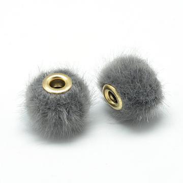 14mm Gray Rondelle Fibre Beads