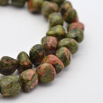 Natural Unakite Bead Strands, Nuggets, 5~7X5~7mm, Hole: 1mm; about 15.7inches(G-P070-25)