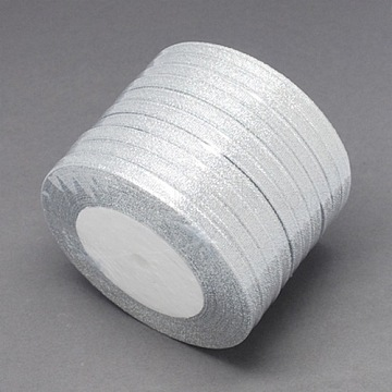 Glitter Metallic Ribbon, Sparkle Ribbon, DIY Material for Organza Bow, Double Sided, Silver Color, Size: about 1/4inch(6mm) wide, 25yards/roll(22.86m/roll)(X-RS6mmY-S)
