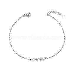 bracelet en argent sterling shegrace®, de petites perles, plaqué argent, 155 mm(JB09B-02)