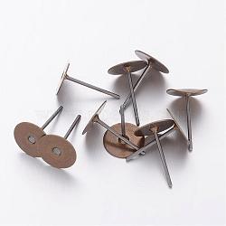 messages oreille de goujon, tête en laiton et tige en acier inoxydable, sans plomb et sans cadmium, bronze antique, plateau: 8 mm; broche: 12 mm(X-KK-C2897-AB)