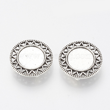 Tibetan Style Alloy Slide Charms Cabochon Settings, Cadmium Free & Lead Free, Flat Round, Antique Silver, Tray: 12mm, 20x5.5mm, Hole: 2x10mm(X-TIBE-Q086-038AS-LF)