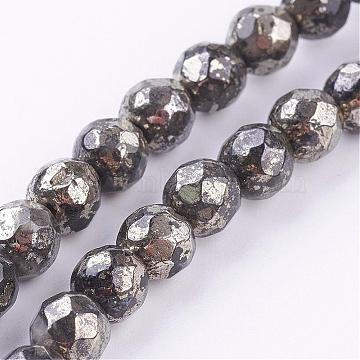 Natural Pyrite Beads Strands, Round, Faceted, 6mm, Hole: 1mm; about 33pcs/strand, 8 inches(G-P303-02-6mm-8)