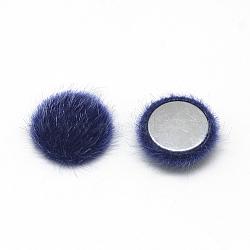 Cabochons recouverts de fausse fourrure, avec fond en aluminium, demi-rond / dôme, bleu, 15x5mm(X-WOVE-S084-49F)
