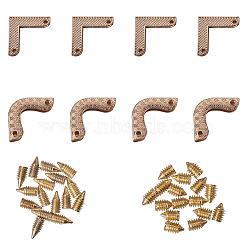 Угловые защитные мешки из цинкового сплава, с винтом, золотой свет, 22.7x22.7x5.5 мм, отверстие : 2.5 мм(PALLOY-PH0012-64LG)