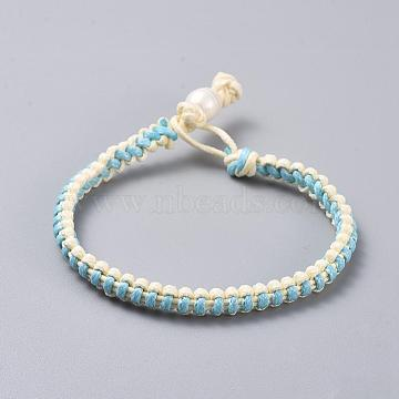 Waxed Polyester Braided Cord Bracelets, with Pearl, Turquoise, 7-1/8 inches(18cm), 5x3.5mm(BJEW-JB04342-05)