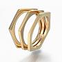 304 нержавеющей стали кольца перста широкополосного, шестиугольник, Размер 6, золотой, 16 mm
