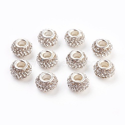 Résine de grade A de cristal strass perles européennes, perles de rondelle avec grand trou , avec ame en laiton de couleur argent, 12x8mm, Trou: 4mm(X-CPDL-H001-12x9mm-7)