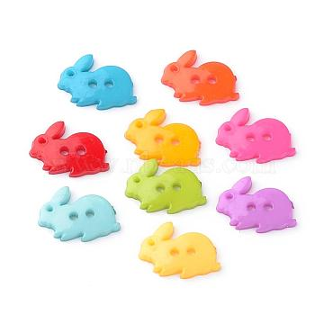 2-Hole Opaque Solid Color Bunny Acrylic Buttons, Rabbit, Mixed Color, 17.5x13.5x2mm, Hole: 2mm(BUTT-S020-35)
