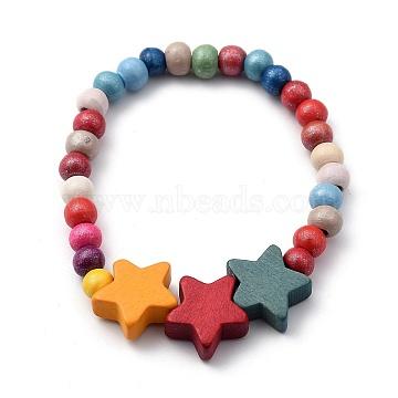 Kids Bracelets, Natural Wood Beaded Stretch Bracelets, Star, Colorful, Inner Diameter: 2 inches(5.1cm)(BJEW-JB05465-03)