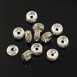 латунные горный хрусталь Spacer бисер, класс, Rondelle, серебристый цвет, размер: около 7 mm в диаметре, 3.5 mm, отверстия: 2 mm(X-RB-A003-7MM-S)