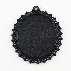 Alliage d'électrophorèse supports cabochons grand pendentif ovale, Sans cadmium & sans nickel & sans plomb, noir, plateau: 40x30 mm; 54x40.5x2 mm, Trou: 2mm(X-PALLOY-Q304-43-NR)