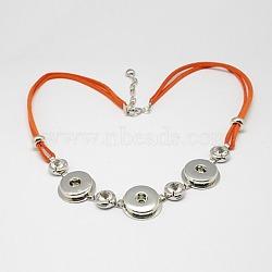 Искусственная замша материалы ожерелье, с латунной снимки, Акриловые бусины, застежками сплава омаров, железными цепями и стразами, платина, оранжево-красные, 530x22x5 мм, пригодный для 5 кнопки мм оснастки в ручке(X-NJEW-R145-06)