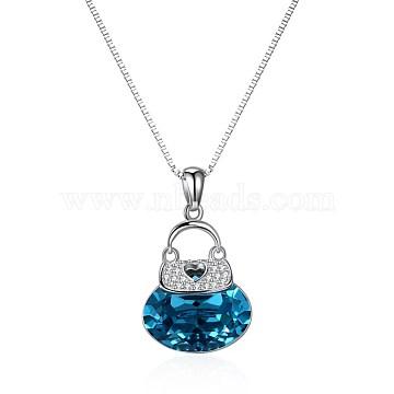 925 Sterling Silver Pendant Necklaces, with Austrian Crystal, Handbag, Platinum, 229_Blue Zircon, 19.68 inches(50cm)(SWARJ-BB34032)