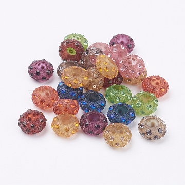 Resin Rhinestone European Beads, Large Hole Beads, Rondelle, Mixed Color, 13x7mm, Hole: 6mm(X-OPDL-J002-M)