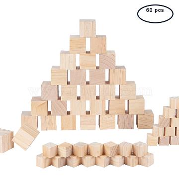 BENECREAT Solid Cube Wooden Block, Building Blocks, Early Educational Toys, Novelty Block, BurlyWood, 20x20x20mm, 30pcs; 35x35x35mm, 30pcs; 60pcs/set(DIY-BC0010-04)