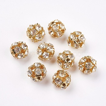 Brass Clear Rhinestone Beads, Grade B, Round, Golden, 12mm(X-RB-A017-12mm-G)