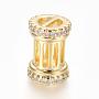 Clear Column Brass+Cubic Zirconia Beads(ZIRC-L085-53G)