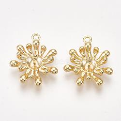 pendentifs en laiton, pour perle à moitié percée, fleur, véritable plaqué or, 20x17.5x5 mm, trou: 1.2 mm; broches: 0.7 mm(KK-S350-210)