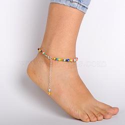 perles de verre à la main de millefiori cheville, avec alliage de zinc homard fermoirs de griffes et chaînes terminales de fer, couleur mélangée, 235 mm(AJEW-AN00028)