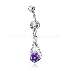 Piercing Jewelry, Brass Cubic Zirconia Navel Ring, Belly Rings, Lead Free & Cadmium Free, teardrop, Platinum, Purple, 38x11.5mm(AJEW-EE0006-22B)
