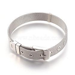 """304 bracelets de montres en inox, montre de la ceinture s'adapte breloques de glissière, couleur inoxydable, 8-1/2"""" (21.5cm); 10mm(X-WACH-P015-02P)"""