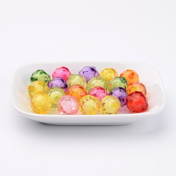 Transparent Acrylic Beads, Bead in Bead, Faceted, Round, Mixed Color, 15mm, Hole: 2mm(X-TACR-S113-15mm-M)