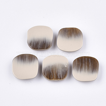 Acrylic Shank Buttons, 1-Hole, Square, AntiqueWhite, 27x28x8.5mm, Hole: 1.8mm(BUTT-T003-04A)