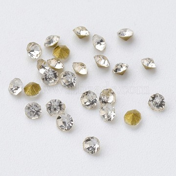 Glass Rhinestone Cabochons, Diamond Shape, Faceted, Pointed Back & Back Plated, Crystal, 2x1.3mm; about 9433pcs/bag(RGLA-D006-02)