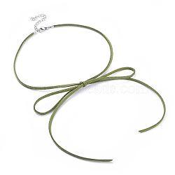 """Colliers en 304 acier inoxydable, avec cordon imitation daim écologique, pinces de homard et fer, bowknot, palegreen, 13.3~13.7"""" (34~35cm) de long, 3mm(NJEW-JN02462-05)"""