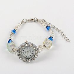Alliage strass fleur montres bracelet électronique, perles de verre, fermoirs laiton pince de homard et chaînes embouts de fer, bleu, 175mm(BJEW-JB01744-01)