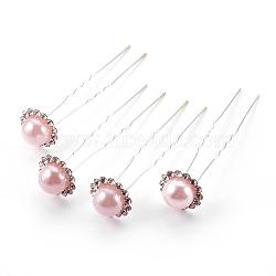 Accessoires de cheveux de dame, fourches à cheveux boule en fer plaqué argent, avec perles en plastique imitation abs et strass, rose, 76~77mm(PHAR-XCP0002-B-04)