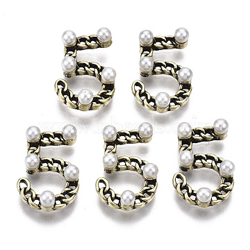 Tibetan Style Alloy Cabochons, with ABS Plastic Imitation Pearl, Cadmium Free & Nickel Free & Lead Free, Number 5, Antique Golden, 14.5x10x4mm(PALLOY-S125-098AG-NR)